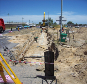 Storm water canals being installed next to Wimbled on Road